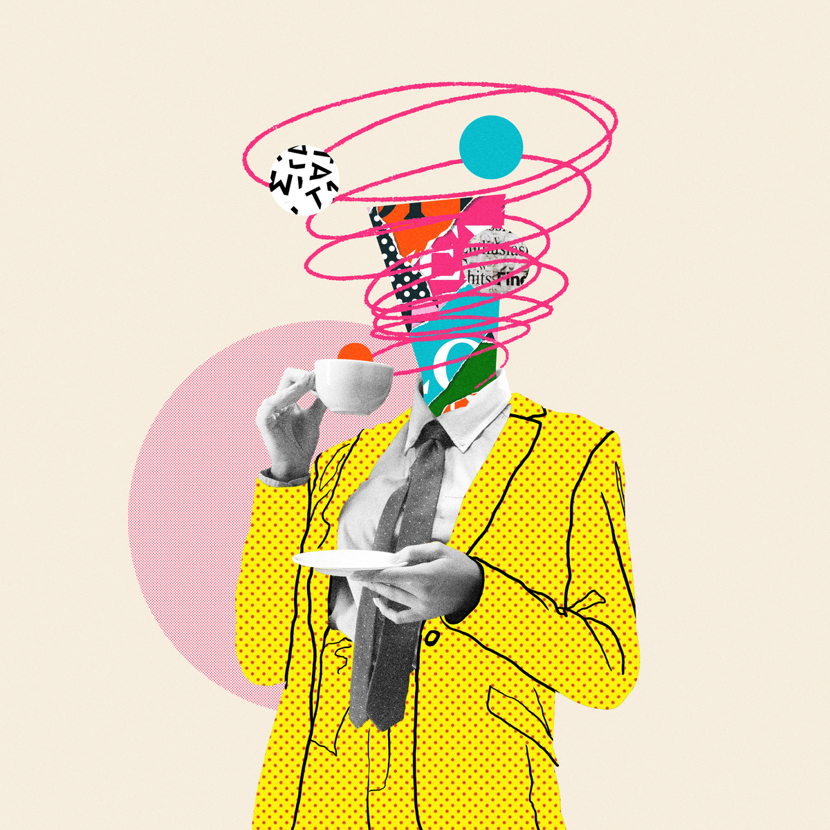 Image of graphic pieces drinking tea -Example pf what a Creative Ads Agency can do